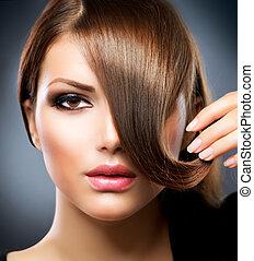 hair., piękno, dziewczyna, z, zdrowy, długi brunatny włos