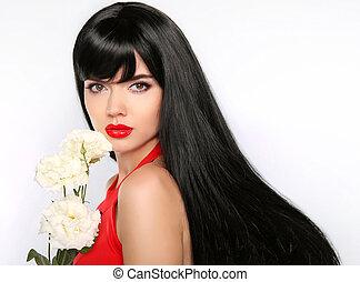 hair., piękny, brunetka, girl., makeup., zdrowy, długi, hair., piękno, wzór, kobieta, z, biały, flowers., prosty, hairstyle.