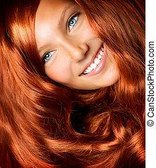 hair., piękny, dziewczyna, z, zdrowy, długi, czerwony, kędzierzawy włos