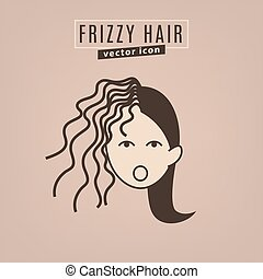 Hair problem icon - Frizzy hair icon. Hair problems...