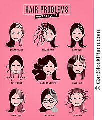 Hair problem icon - Hair problems collection. Vector...