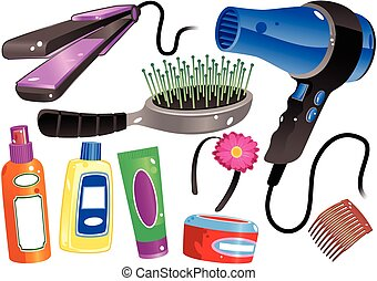 Various illustrations of hair styling products and equipment.
