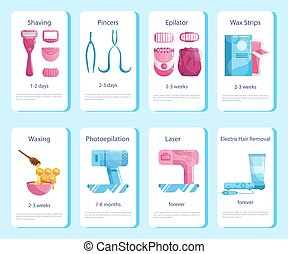 Hair removal methods for women and duration set. Epilation ...