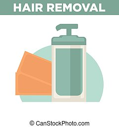 Hair removal promotional poster with bottle of remover