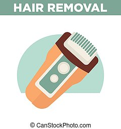 Hair removal promotional poster with modern epilator illustration
