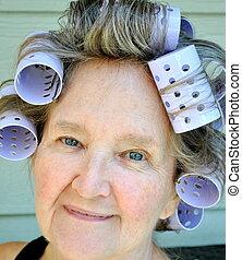 Hair rollers.