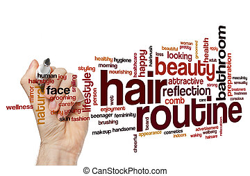 Hair routine word cloud