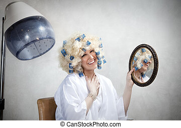hair salon - bizarre woman doing permanent wave and looking ...
