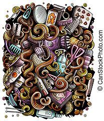 Hair salon hand drawn raster doodles illustration. Hairstyle poster design.