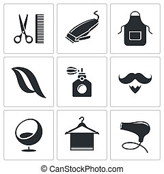 Hair salon icon set