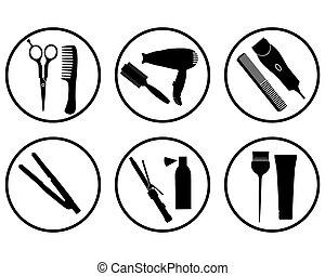 hair salon icon - vector silhouettes hairdressing supplies...