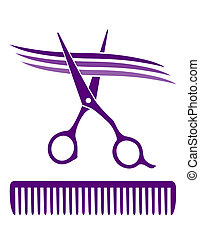 hair salon icon with scissors and comb