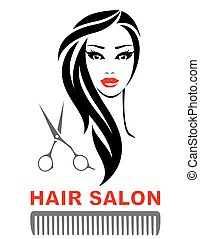 hair salon icon with woman face and scissors - hair salon...