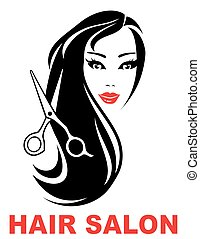 hair salon icon with woman face and long beautiful hair
