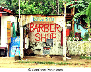 hair salon in the 3rd world tropical country