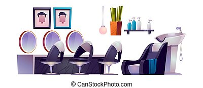 Hair salon interior with hairdresser chairs, mirrors, sink and cosmetics. Vector cartoon set of furniture for barbershop or beauty salon isolated on white background