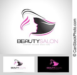 Hair salon business card templates with pink hair and pink vector hair salon logo design creative abstract woman face and hair and business card template accmission Gallery