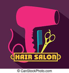 Hair salon over purple background, vector illustration