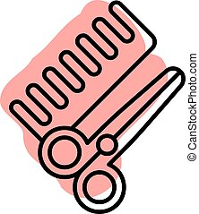 Hair salon, scissors, brushing with color shadow vector icon in beauty set