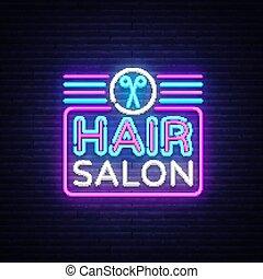Hair Salon sign vector design template. Hairdress neon logo, light banner design element colorful modern design trend, night bright advertising, bright sign. Vector illustration