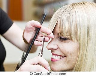 Hair Salon situation - Blond woman at the Hair Salon