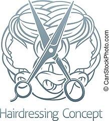 Hair Salon Stylist Hairdresser Concept - An abstract hair...