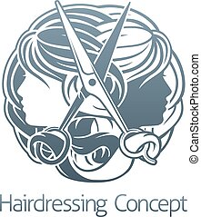 Hair Salon Stylist Hairdresser Icon - Womens faces and...