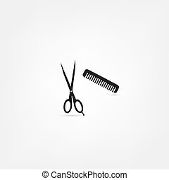 hair salon with scissors and comb