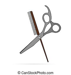Hair salon with scissors and comb v