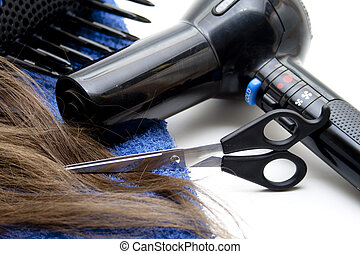 Hair scissors with hair hairdrier