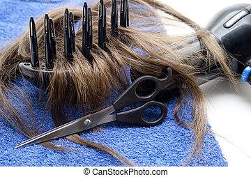 Hair scissors with hair
