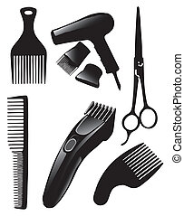 Hair set - A set of tools for hairdressers. Vector...