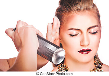 hair spray, women on white background - beauty, hairstyle ...