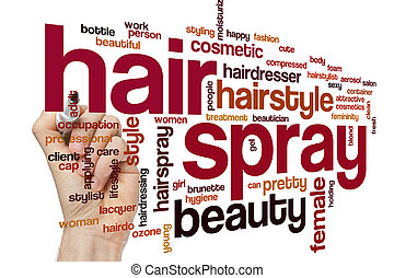 Hair spray word cloud concept with can style related tags