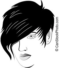 Hair style design illustration for logo salon