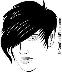 Hair style design illustration for logo salon