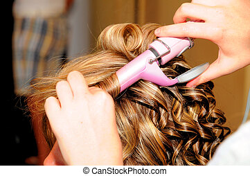 hair style - female styling hair