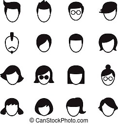 Hair style icons Vector Illustration Set