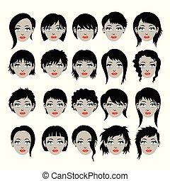 Hair Style Silhouettes, art vector design