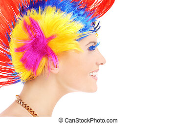 Hair style - A portrait of a happy woman in a colorful...