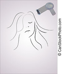 Hair Style - Woman getting her hair done with hair-dryer.