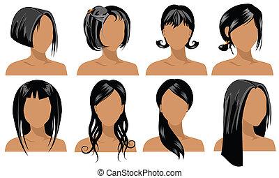 illustration of female hair styles
