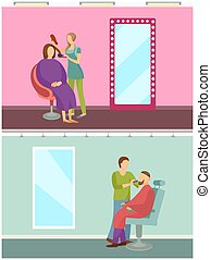 Hair Styling and Barber Shop for Men Set Vector