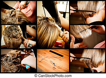 At the hairdresser's: a composite with the various stages of a stylist cutting and blow-drying a blonde woman's hair with highlights.