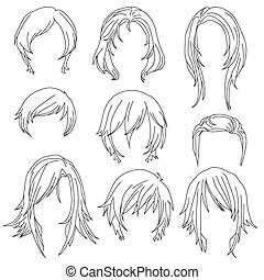 Hair styling for woman drawing Set 2
