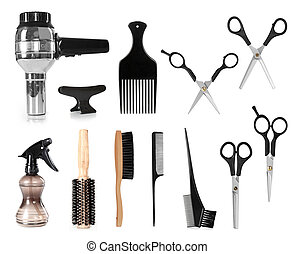 collection of hair styling salon tools isolated on white background