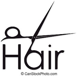 Hair symbol with scissors silhouette for business