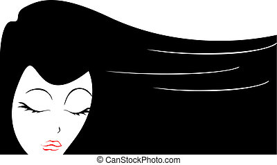 Hair - The hair of a young woman blacks create a graphic...