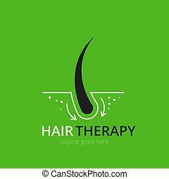 Hair therapy logo concept for design. Vector healthcare medicine icon