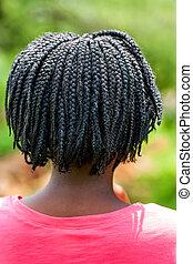 hair., trenzado, africano, niña, vista trasera